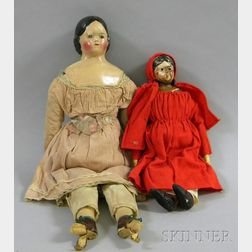 Two Painted Composition Shoulder Head Dolls