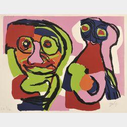 Karel Appel (Dutch, 1921-2006)      Deux Personnages