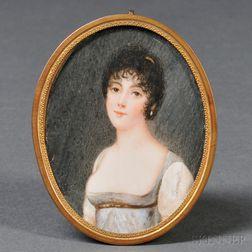François Dumont (French, 1751-831)      Portrait Miniature of a Young Woman