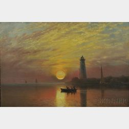 Albert Bierstadt (American, 1830-1902)      Lighthouse, Newport, Rhode Island