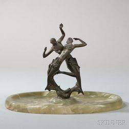 Art Deco Figural Bronze and Green Onyx Vide Poche