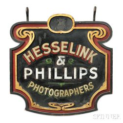 """Polychrome Carved and Decorated """"HESSELINK & PHILLIPS PHOTOGRAPHERS"""" Trade Sign"""