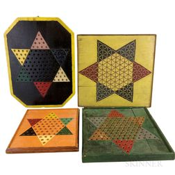 Four Polychrome Painted Chinese Checkers Boards.     Estimate $200-400