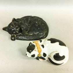 Cast Iron Cat Doorstop and a Porcelain Cat