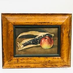 American School, 19th Century       Still Life with an Apple and Corn