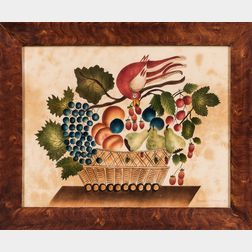 Modern Watercolor on Velvet Theorem with a Bird and Basket of Fruit