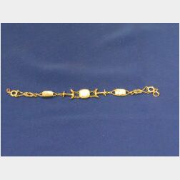 14kt Gold and Nautical Crystal Intaglio Bracelet.