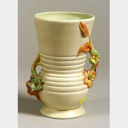 Clarice Cliff Decorated Double Handled Ceramic Vase.
