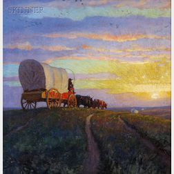 Newell Convers Wyeth (American, 1882-1945), That Endless Stream Across the Dubuque Ferry was Flowing on Ahead of Me, and the Fast-Going