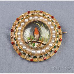 Antique Reverse Crystal, Enamel and Seed Pearl Brooch