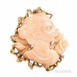 14kt Gold and Coral Pendant/Brooch