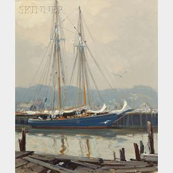 Otis Pierce Cook (American, 1900-1980)      Schooner at Gloucester Harbor