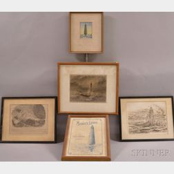 Five Framed Minot's Ledge Light Prints.     Estimate $50-75