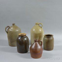 Five Stoneware Vessels