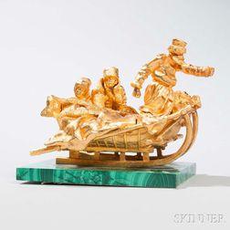 Russian Gilt-bronze Figural Group on Malachite Base
