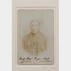 """Framed Cabinet Card Photograph of """"Curly Bear, Piegan Chief"""" by Inglos"""