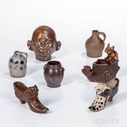 Seven Small Stoneware Items