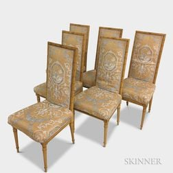 Set of Six Karges Louis XVI-style Upholstered and Painted Side Chairs