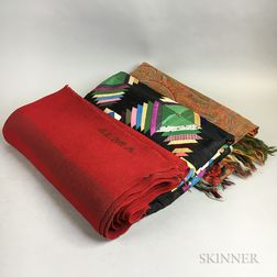Paisley Shawl, a Windmill Blades Quilt, and a Homespun Wool Textile.     Estimate $200-250