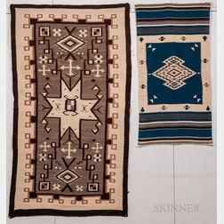 Navajo Regional Rug and Chimayo Woven Wool Blanket