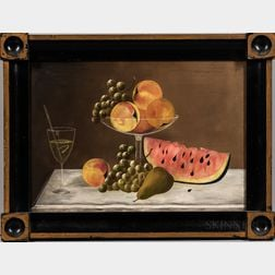 American School, Late 19th Century      Still Life with Fruit in a Compote and a Cocktail