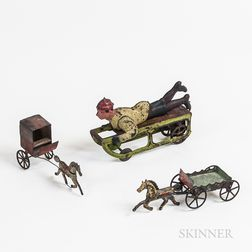 Pressed Steel Sledding Wind-up Toy and Two Tin Horses and Carriages