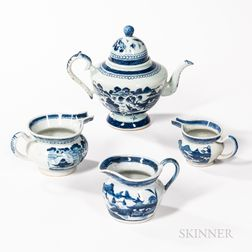 Four Pieces of Canton Pattern Chinese Export Porcelain Teaware