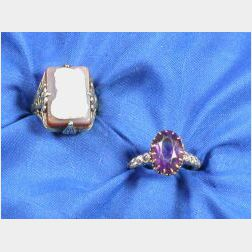 Two Antique 14kt Gold and Gem-set Rings