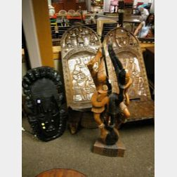 African Carved Wood Mask, Figural Group, and a Pair of Chieftain Chairs.