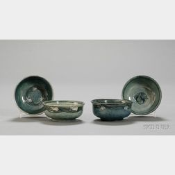 Four Newcomb College Pottery Small Decorated Bowls