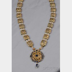 Antique High-Karat Gold, Foil-back Sapphire, Enamel, and Seed Pearl Pendant   Necklace
