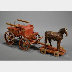 Painted Wooden Horse Pull-toy and Carriage