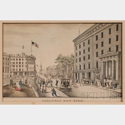 Nathaniel Currier, publisher (American, 1813-1888) Lot of Two Works: Ruins of the Merchants Exchange N.Y., and Broadway New York. ...