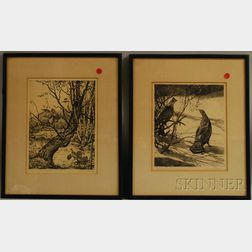 Two Sporting Prints:      Aiden Lassell Ripley (1896-1969), Ruffed Grouse in Winter