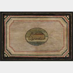 Pictorial Hooked Rug with a Rabbit