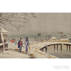 Kobayashi Kiyochika (1847-1915), Snow Scene at Koume Hikibune-Dori