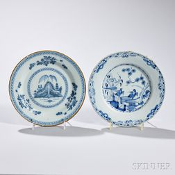 Two Blue-decorated Tin-glazed Earthenware Plates