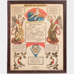 Andreas Saur Printed Baptismal Fraktur