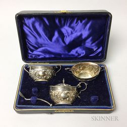 English Sterling Silver Repousse Cased Salt and Condiment Set