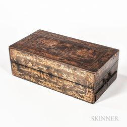 Chinese Export Gilt-decorated and Lacquered Writing Box