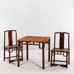 Pair of Hardwood Chairs and a Tea Table
