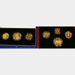 Two United Kingdom Gold Proof Three Coin Sets