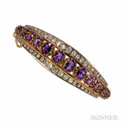 14kt Gold, Amethyst, and Diamond Bracelet