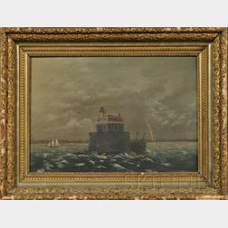 Attributed to Augustus Waldo Eddy (American, 1851-1921) Lot of Two Works: View of the Penfield Reef Lighthouse off Fairfield, Connec...