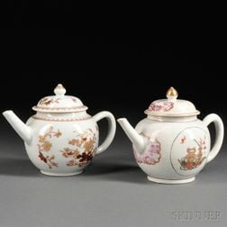 Two Chinese Export Porcelain Teapots with Covers