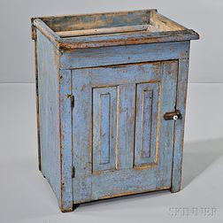 Small Light Blue-painted Pine Dry Sink
