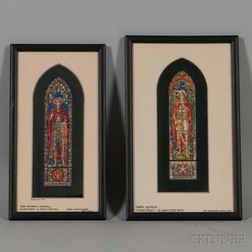 Two Framed Len R. Howard Watercolor Stained Glass Studies