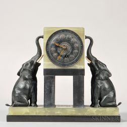 Marble Shelf Clock with Elephants