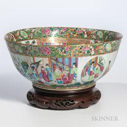 Rose Medallion Export Porcelain Punch Bowl