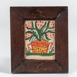American School, 19th Century      Flowering Plant in a Spotted Pot